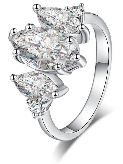Pferd Auge Zirkon Metall Ring - Silber 6 Mobile