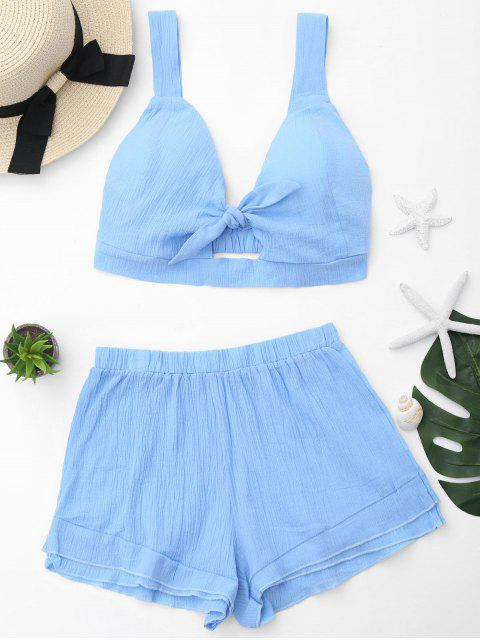 new Cut Out Crop Top and Shorts Set - SKY BLUE XL Mobile