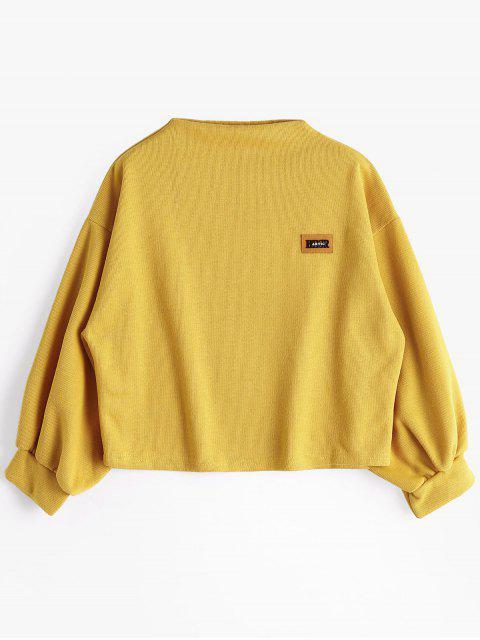 buy Badge Patched Lantern Sleeve Sweatshirt - GINGER ONE SIZE Mobile