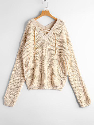 Chunky V Neck Lace Up Sweater - Off-white