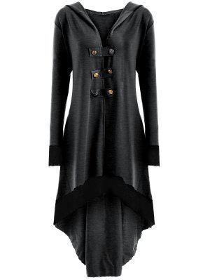 Hoch Niedriger Hoodie Übergroße Schnürung Mantel