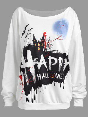 Sudadera con hombros descubiertos Happy Halloween Plus Size