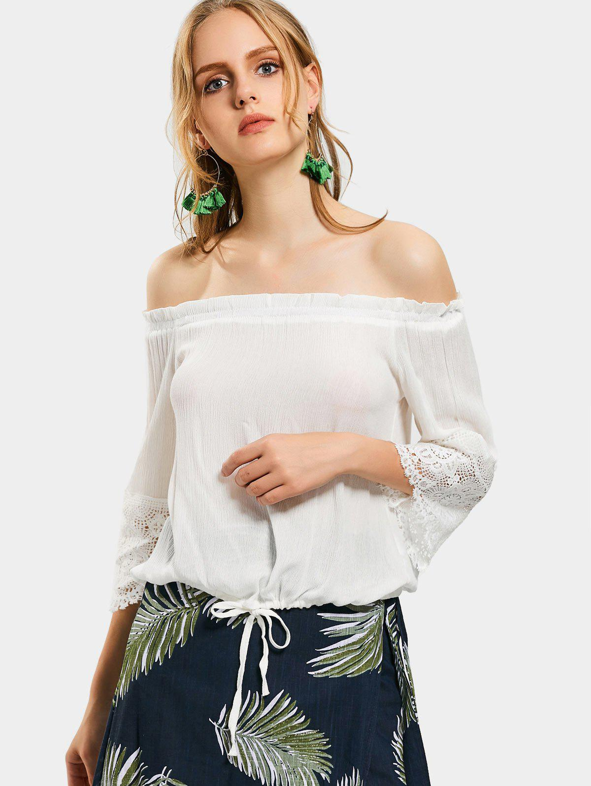 Aus der Schulter Lace Panel Einfache Bluse