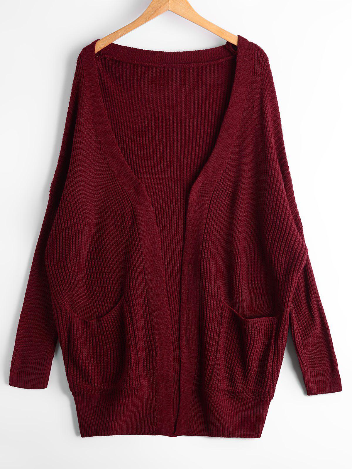 Cardigan en coton ouvert ouvert avec poches