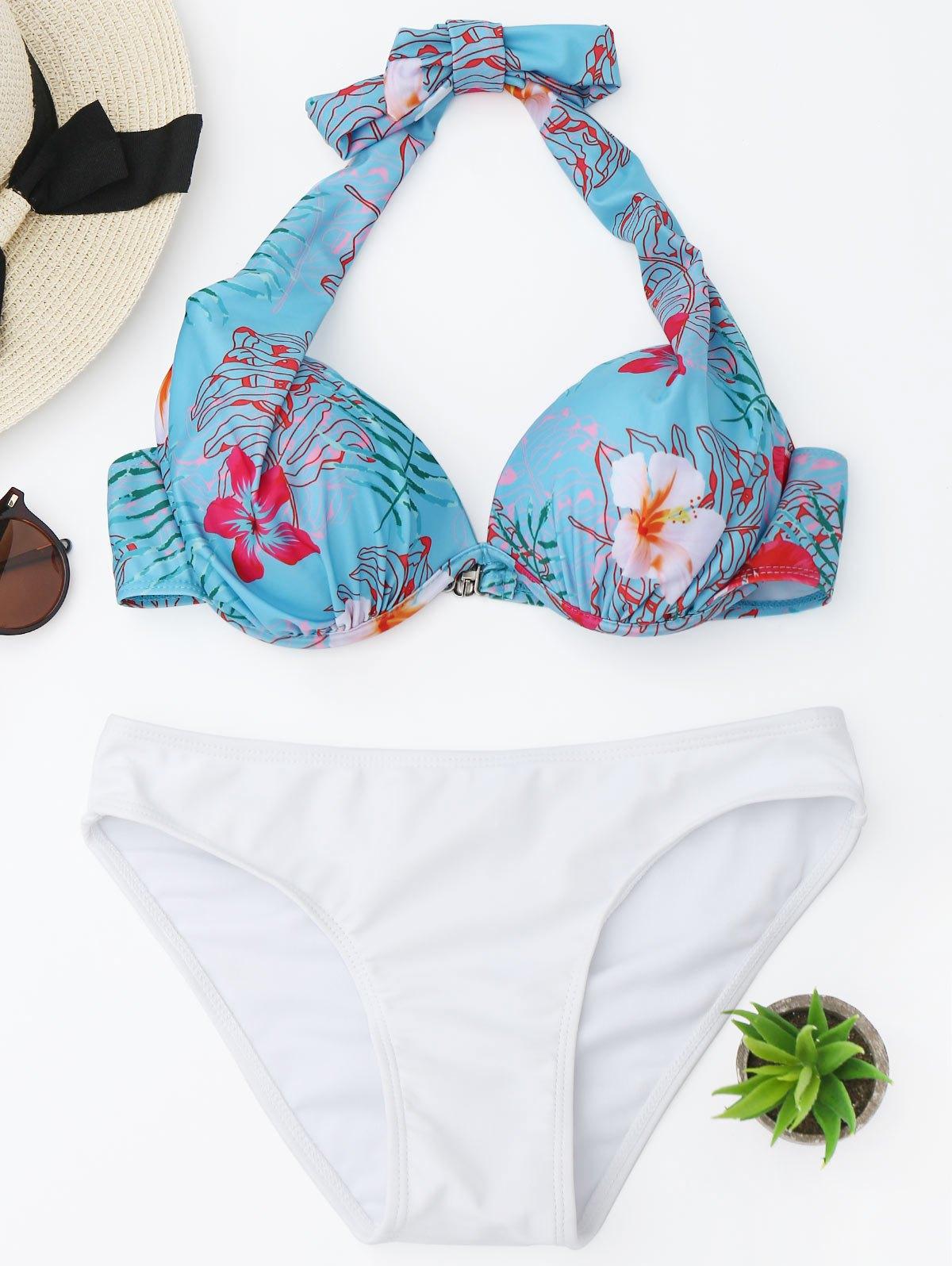 Underwire Floral Halter Bikini Set 226656803