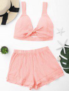 Cortar Cultivar Top Y Shorts Set - Naranja Rosa S