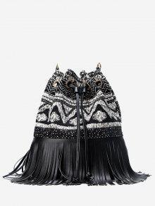 حقيبة كروسبودي بطبعات كروية - أسود
