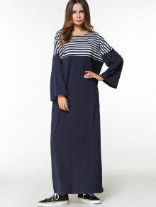 فستان عربي باتوينغ الأكمام مخطط طويل - الأرجواني الأزرق M