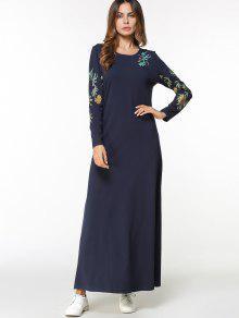 فستان ماكسي عربي مطرز الأزهار - الأرجواني الأزرق L