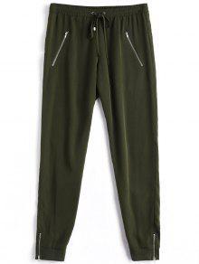 Pantalones Ocasionales De Cordón De Bolsillo Cremallera - Verde Del Ejército M