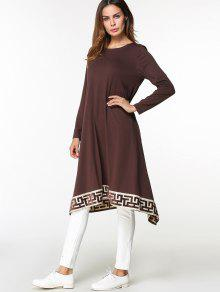 فستان عربي غير متماثل مطرز ميدي - قهوة L