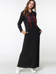 فستان هوديي مرسوم ماكسي - أسود 2xl