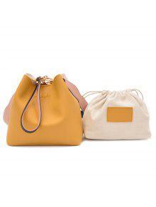 2 قطعة فو الجلود حقيبة يد مجموعة - الأصفر