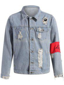 stra mode zerrissene jeansjacke mit armbinde denim blau. Black Bedroom Furniture Sets. Home Design Ideas