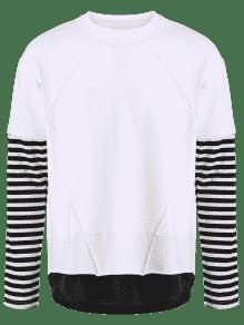 Camiseta Panel De Cuello De 2xl Blanco Del Raya Del Equipo La qq7r4w