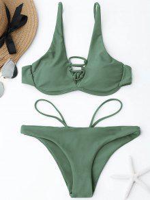 Ensemble De Bikini En Dentelle à Encolure - Vert Cendré S