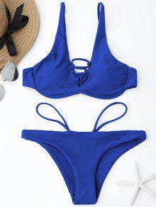 Ensemble De Bikini En Dentelle à Encolure - Bleu M