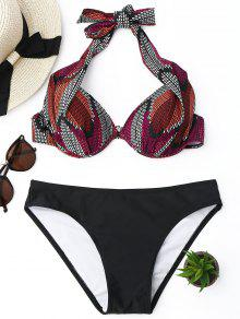 Juego De Bikini Con Estampado Con Estampado Halter - Negro S