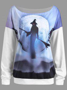 2018 Plus Size Halloween Witch Moon Drop Shoulder Sweatshirt In
