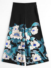 عالية مخصر واسعة الساق السراويل الأزهار - أسود L