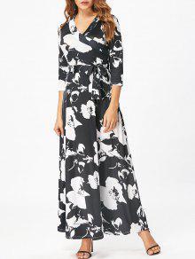 فستان كهنوتي مربوط طباعة الأزهار ماكسي - أسود 2xl