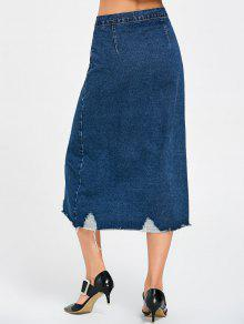4fe8c62bf6 33% OFF] 2019 Ripped Front Buttons Denim Skirt In DENIM BLUE | ZAFUL