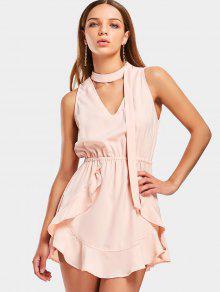 Vestido Corto De Choker Con Volantes - Rosa Beige  L