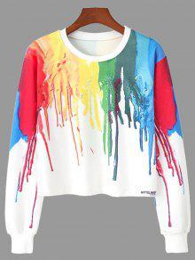 Sweat-shirt Ras Du Cou Imprimé Peinture Éclaboussé - L