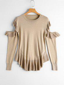 Sheer Cut Out Pullover Mit Volants - Aprikose