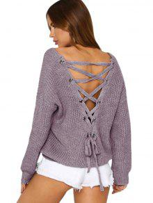 Back Lace Up Suéter Con Cuello En V - Gris Púrpura