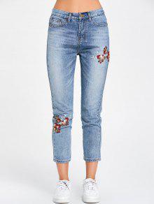 جينز مطرز بالأزهار بسحاب  - أزرق S