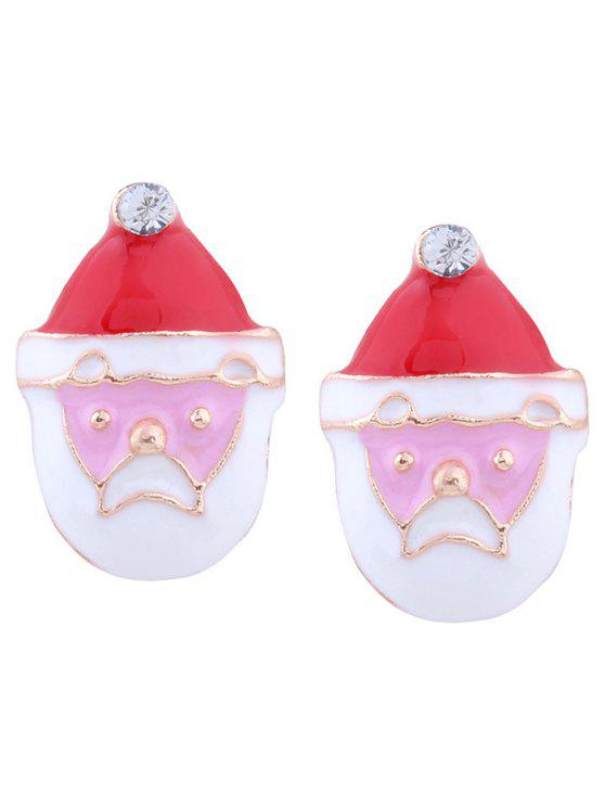 Rhinestone Tiny Christmas Santa Earrings - Rouge