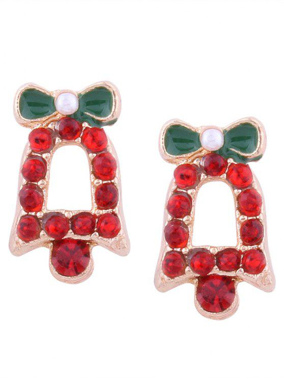 online Rhinestone Tiny Christmas Bell Stud Earrings - RED