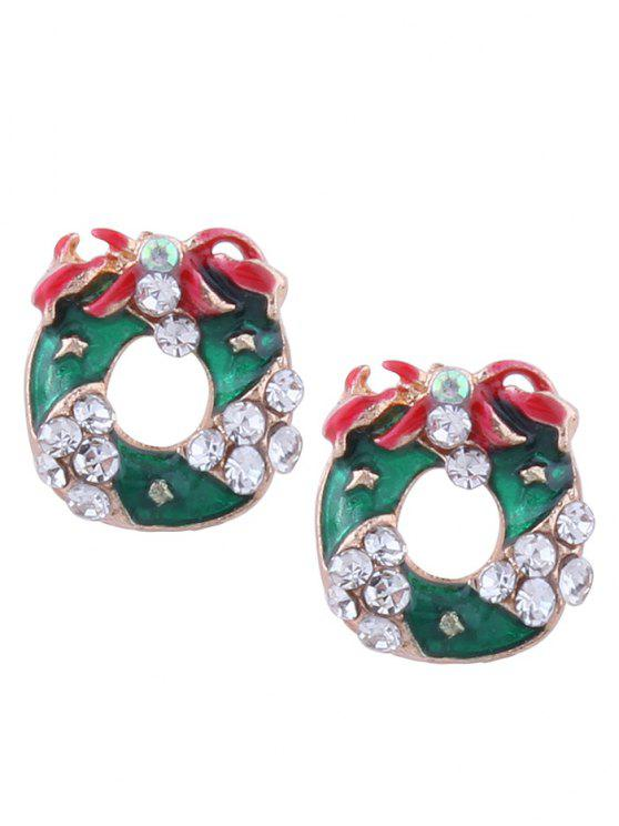 Rhinestone Christmas Wreath Stud Tiny Earrings - Vert
