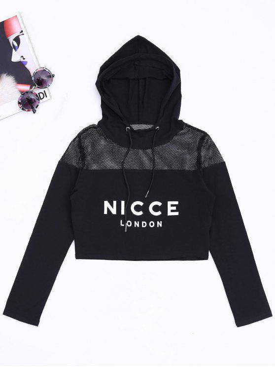 fancy Mesh Panel Nicce Graphic Cropped Hoodie - BLACK M