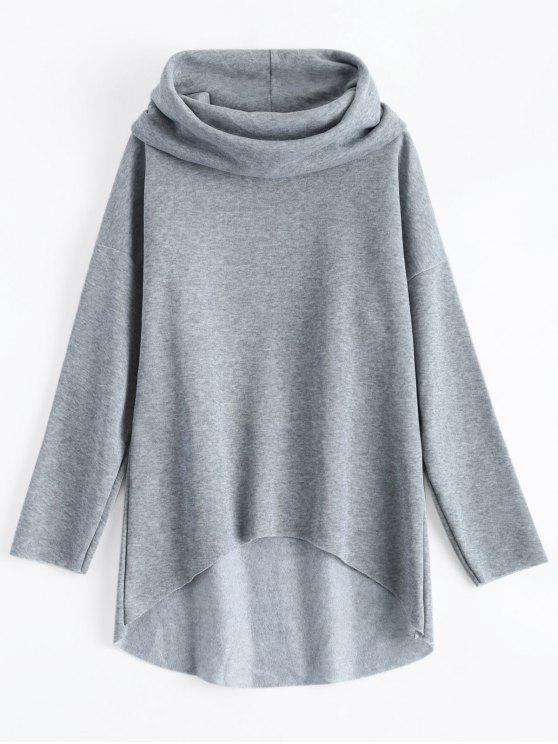 affordable High-Low Tunic Hoodie - GRAY L