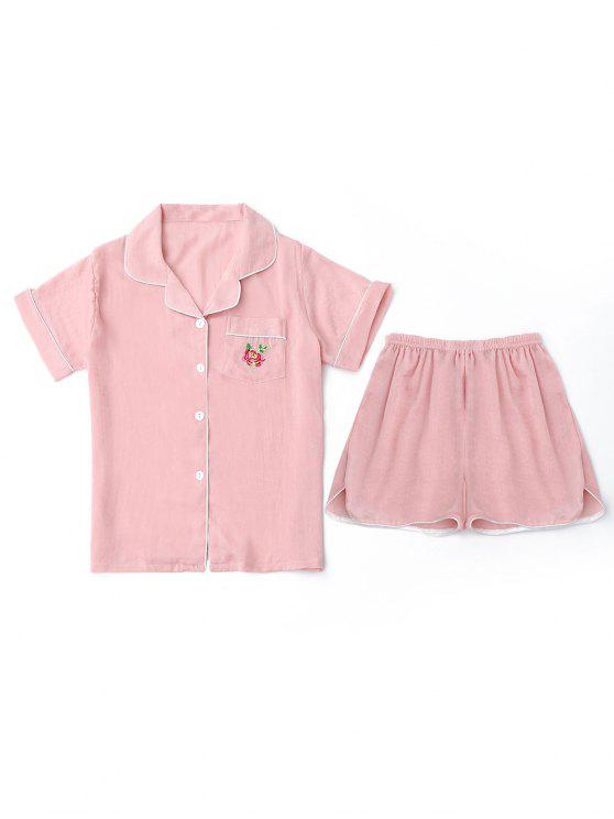 outfit Embroidered Shirt with Shorts Loungewear Suit - PINK M