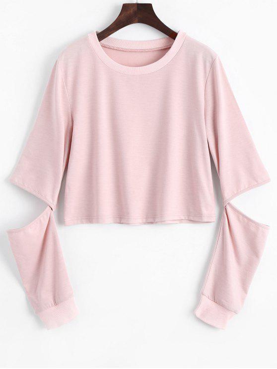 Sweat-shirt Simple à Manches Cut Out - ROSE PÂLE 2XL