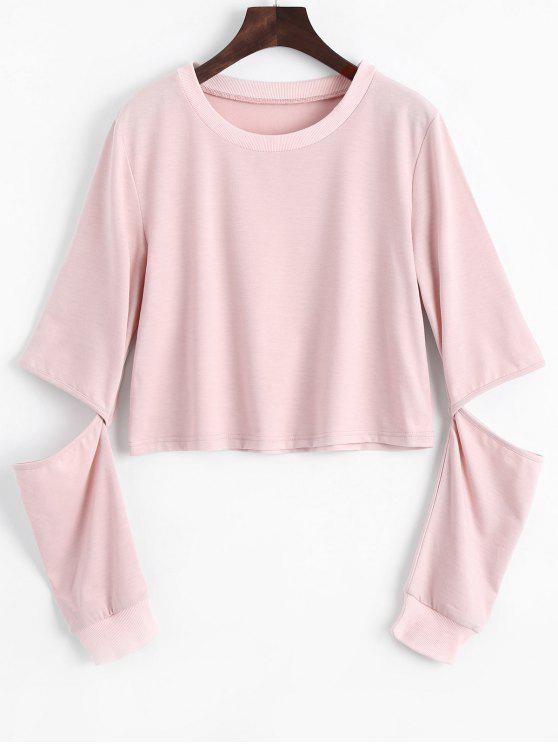 shops Plain Cut Out Sleeve Sweatshirt - PINK S