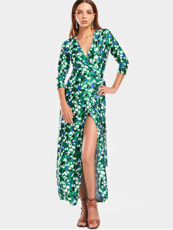 Vestido con estampado en contraste - Verde S