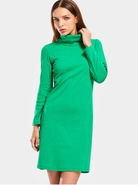 Manga larga cuello alto vestido de vaina de punto - Verde S