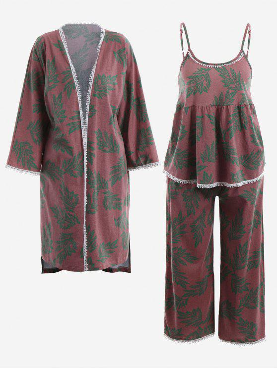 online Pajamas Leaf Print Kimono And Cami Top And Pants - RUSSET-RED XL