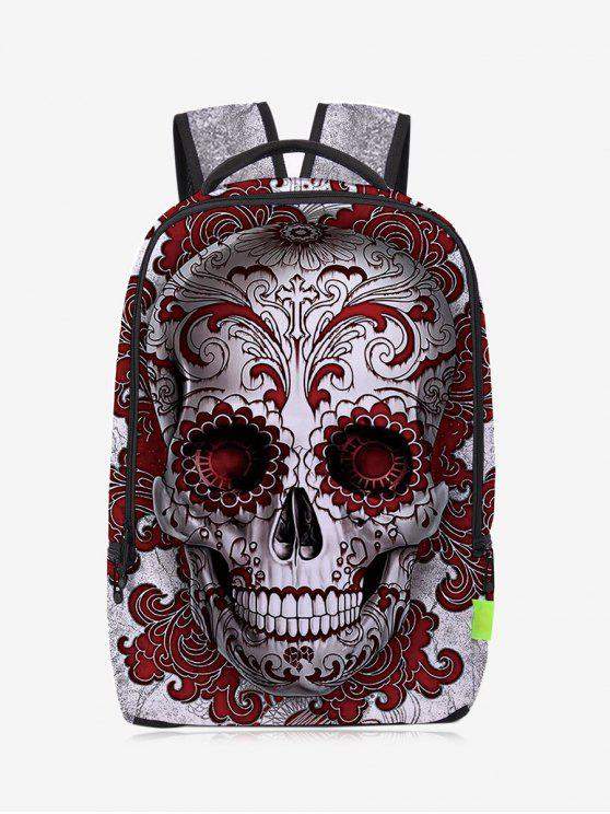 outfit Canvas Skull Zips Backpack - RED