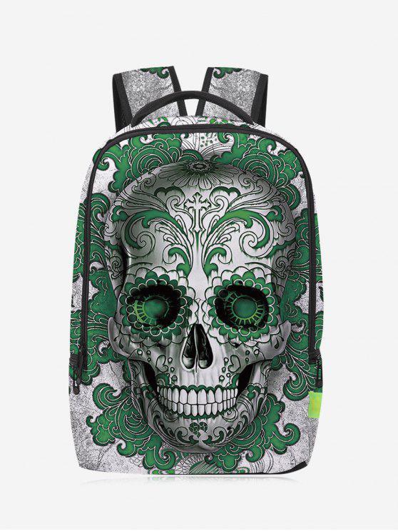 Canvas Skull Zips Mochila - Verde