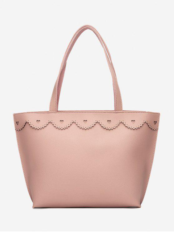 shop Faux Leather Heart Pattern Shoulder Bag - PINK