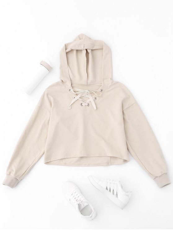 chic Lace Up Plain Cropped Hoodie - APRICOT S