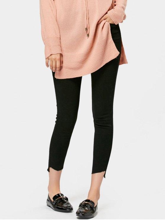Jeans de lápiz asimétrico de alta cintura - Negro S
