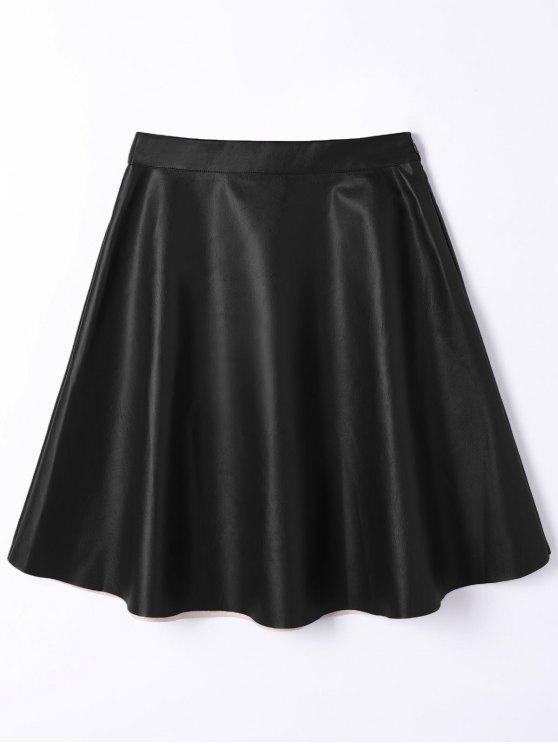 Jupe Taille Haute A Line en Cuir PU - Noir S