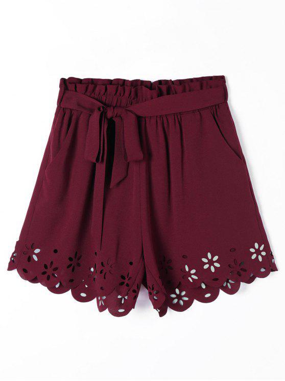 Hollow Out bolsillos pantalones cortos festoneados con cinturón - Vino Rojo XL