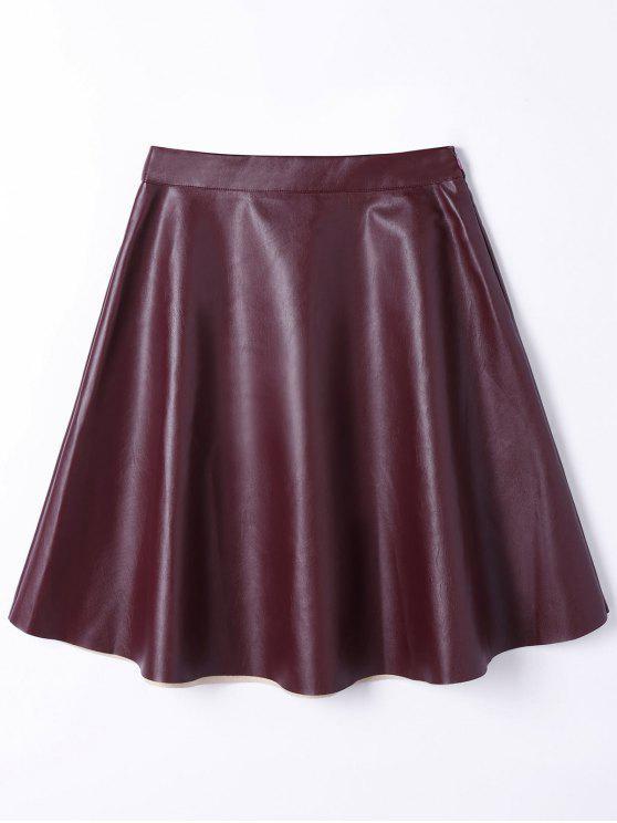 Cuero de la PU una línea falda de la cintura alta - Vino Rojo S